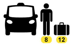 Book a taxi in Barcelona, Up to  7 pax, 10 or 11 luggage.